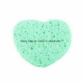 Almofada de limpeza facial de limpeza natural do sopro da esponja de celulose da forma do coração da esponja da polpa de madeira da forma do coração para lavar