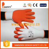 Gant enduit de latex orange en nylon de blanc de Ddsafety 2017