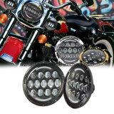 """Los accesorios de la motocicleta, para el Wrangler del jeep y acarrean 7 """" la linterna alta-baja redonda de la viga del CREE LED de la lente de 75W 4D"""