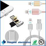 carregador magnético do grande relâmpago 2.4A atual trançado que cobra o cabo do USB
