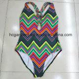 Desgaste Monokini da praia do Swimwear da impressão para mulheres/senhora, terno de natação de uma peça só