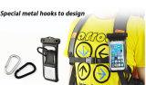 Bolso impermeable del teléfono de la facción con el gancho de leva y brazal para el iPhone 5.5 pulgadas
