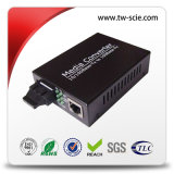 Convertidor de medios de fibra 10 / 100m interfaz UTP y 100m interfaz de fibra óptica