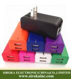 Alto adaptador dual universal del cargador de la pared del USB del rendimiento 5V 3.1A nosotros cargador del hogar del recorrido del enchufe para la PC Smartphone del vector