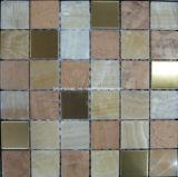 Mosaico di pietra di marmo naturale per le mattonelle della parete del materiale da costruzione della Camera (FYSM017)