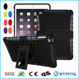 Cas dur hybride antichoc en caoutchouc de stand raboteux pour la languette de galaxie de Samsung d'iPad d'Apple