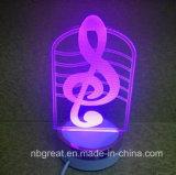 Nueva lámpara colorida coloreada de oro de la noche 3D de las caras mini