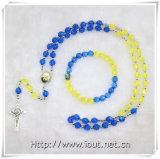 多色刷りのプラスチックビードの数珠、ビードのチェーン数珠のネックレス(IOcrs0000)
