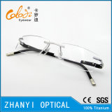 Leichter randloser Titanbrille Eyewear optische Glas-Rahmen mit Scharnier (5010)