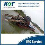 バケツのチェーン金鉱山の浚渫船