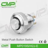 commutateur de bouton poussoir en métal de 19mm avec l'éclairage LED