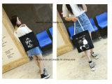 Signora casuale personalizzata Handbags del reticolo del fumetto della tela di canapa della pianura di modo