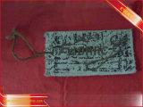 오래된 서류상 걸림새 꼬리표 청바지에 의하여 인쇄되는 걸림새 꼬리표