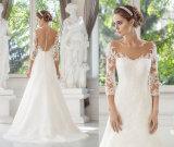 Luva longa macia e flutuante vestido de noiva de renda