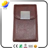 Bezaubernder Brown-Vierecks-Form-Leder-Visitenkarte-Kasten mit Deckel-und Leder-Metallnamenskartenhalter