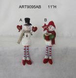 "11 "" H Button+Bead 다리가 있는 털실 공 눈사람 훈장 선물 2asst."