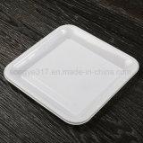 ein Quadrat des Wegwerfplastiktafelgeschirrs