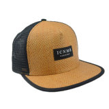 Black / Brown 6 Panels Straw Snapback Cap Flat Brim Cap
