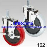 Roter PU-Rad-Schwenker mit Verriegelungsplatten-Oberseite-Fußrolle