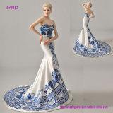 Porcelana azul e branca bordada Strapless feito-à-medida vestido de casamento do estilo chinês