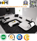 현대 거실 하얀 가죽 LED 가벼운 부분적인 소파 (HC1093)