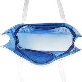 Azul impermeable de PVC blanca de la manija del bolso transparente (A092)