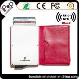 Titular de cartão de crédito metálico Slim Holder com couro PU para mulheres