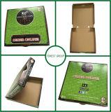 カスタム十分に緑色の印刷波形ピザボックス