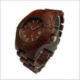 주문 남자 달력 전시를 가진 나무로 되는 팔찌 석영 시계