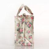 Blancos impermeables retros florales PVC bolsos de lona con bolsillo interno