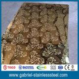 Hoja de acero inoxidable decorativa de AISI 441 de oro