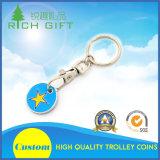 Trousseau de clés fait sur commande en gros de pièce de monnaie de chariot à achats en métal avec le logo coloré