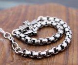 Bijoux rétro en acier inoxydable Croix croisée Bracelet en bijoux en chaîne de perles