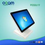 """POS8619 15 """"任意選択二重スクリーンが付いている1台のパソコンの金銭登録機POSターミナルの接触すべて"""
