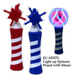Divertente illuminare in su la bacchetta del filatore con il giocattolo di musica