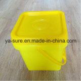 Caixa plástica do quadrado do produto comestível de PP/HDPE com punho 2L
