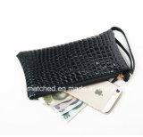 Petites pochettes de tirette de pochette de pièce de monnaie de bourse en cuir femelle bon marché d'unité centrale pour des femmes