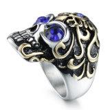 Juwelen van de Ring van de Band van de Mensen van het Roestvrij staal van het Titanium van de Diamant van de Schedel van de manier de Uitstekende Retro
