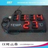 Visualizzazione impermeabile esterna dell'interno di tempo & di temperatura di alta luminosità LED