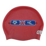 習慣は100%年のシリコーンの防水子供か大人の水泳の帽子を印刷した