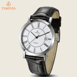 最上質のステンレス鋼の水晶腕時計、本革バンド72438