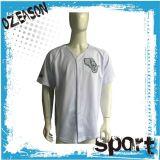 Chemise faite sur commande blanc de Bottons de Jersey de base-ball de sublimation