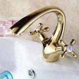 Ouro de Flg que pinta o misturador duplo do Faucet da bacia do banheiro das alavancas