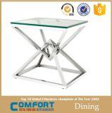 緩和された明確なガラスステンレス鋼の側面表の家具