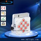 DJ 호리호리한 동위 9PCS 10W RGBW 4in1 무선 건전지에 의하여 운영하는 편평한 LED 동위