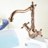 Misturador do banheiro da bacia do ouro de FLG Rosa com punhos dobro