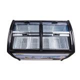 Showcase de vidro de revestimento endurecido do gelado de quatro portas