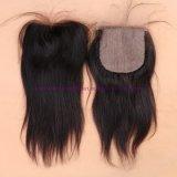 束の閉鎖が付いているまっすぐなインドのバージンの毛を搭載する束4X4の絹の基礎閉鎖が付いている8A等級の絹の基礎閉鎖