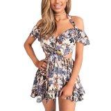 La stampa floreale del Halter sexy di estate delle donne fuori dal vestito dalla spalla scava fuori vestito elastico dalla vita del breve vestito il mini alto