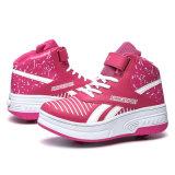 Zapatos de cuero de la PU de la PU de la manera con el rodillo retráctil para los niños, zapatos del patín del rodillo de los muchachos deporte de las zapatillas de deporte de China